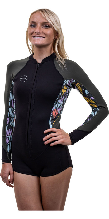 2020 O'Neill Womens Bahia 2/1mm Front Zip Long Sleeve Shorty Wetsuit 5363 - Black / Baylen / Dark Olive