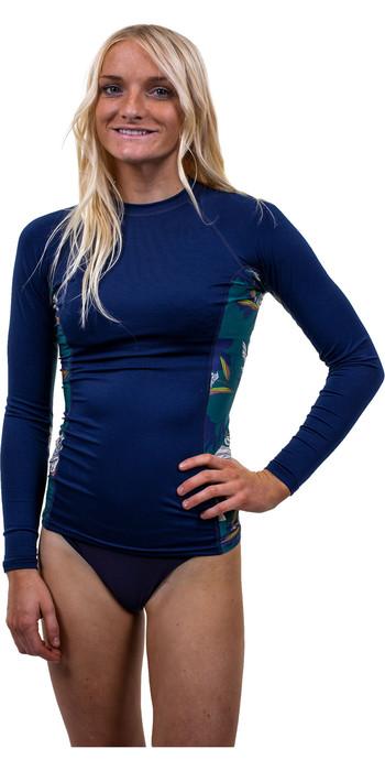 2020 O'Neill Womens Side Print Long Sleeve Rash Vest 5406S - French Navy / Bridget