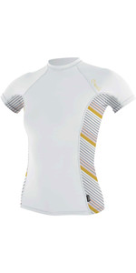 2020 O'Neill Womens Side Print Short Sleeve Rash Vest 5405S - White / Mika