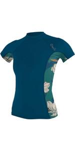 2020 O'Neill Womens Side Print Short Sleeve Rash Vest 5405S - French Navy / Bridget