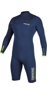 2020 Mystic Mens Marshall 3/2mm Long Sleeve Chest Zip Shorty Wetsuit 200060 - Navy / Lime