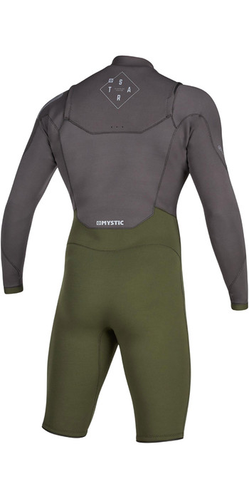 2020 Mystic Mens Star 3/2mm Long Sleeve Chest Zip Shorty Wetsuit 200063 - Grey / Green