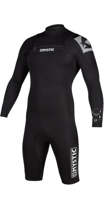 2021 Mystic Mens Star 3/2mm Long Sleeve Chest Zip Shorty Wetsuit 200063 - Black
