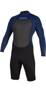 2020 Mystic Mens Brand 3/2mm Long Sleeve Back Zip Shorty Wetsuit 200069 - Navy