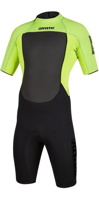 2021 Mystic Mens Brand 3/2mm Back Zip Shorty Wetsuit 200070 - Black / Lime