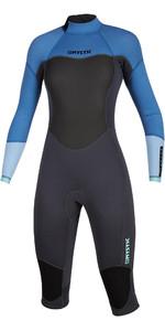 2020 Mystic Womens Brand 3/2mm Long Arm Short Leg Back Zip Wetsuit 200081 - Menthol Blue