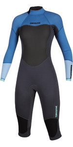 2020 Mystic Womens Brand 3/2mm Long Arm Short Leg Back Zip Wetsuit 200081 - Menthol Blue