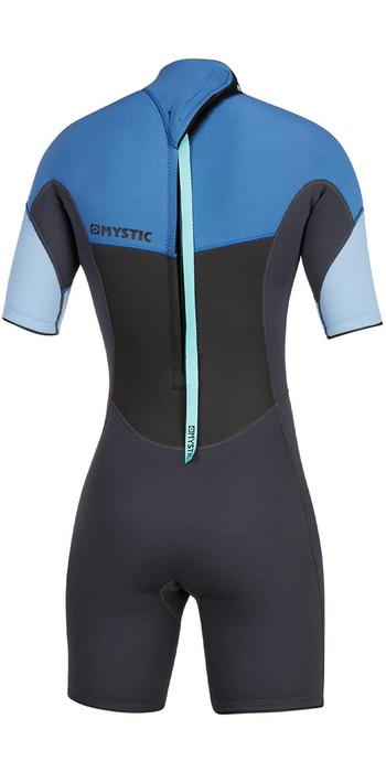 2021 Mystic Womens 3/2mm Back Zip Shorty Wetsuit 200084 - Menthol Blue