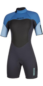 2021 Mystic Womens 3/2mm Back Zip Shorty Wetsuit 200084 - Menthol Blue