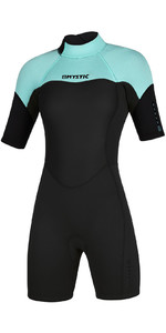 2021 Mystic Womens 3/2mm Back Zip Shorty Wetsuit 200084 - Mint Green