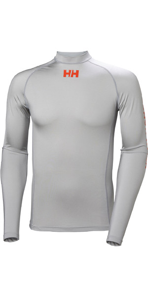 2019 Helly Hansen Long Sleeve Rash Vest Grey Fog 34023