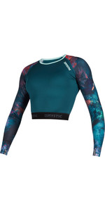 2020 Mystic Womens Diva Long Sleeve Rashvest Crop Top 190102 - Teal