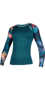2020 Mystic Womens Diva Long Sleeve Rash Vest 200153 - Teal