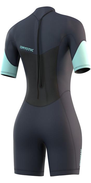 2021 Mystic Womens Brand 3/2mm Back Zip Shorty Wetsuit 210323 - Night Blue