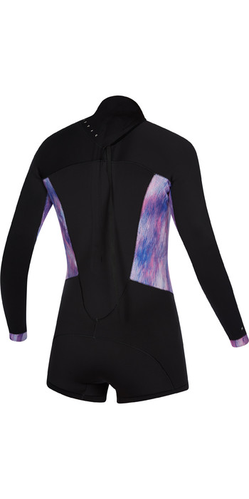 2021 Mystic Womens Diva 2mm Long Sleeve Back Zip Shorty Wetsuit 200072 - Black / Purple
