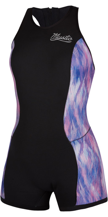 2021 Mystic Womens Diva 2mm Sleeveless Shorty Wetsuit 200074 - Black / Purple