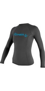 2019 O'Neill Womens Basic Skins Long Sleeve Crew Rash Vest Graphite 3549