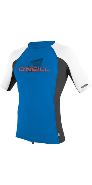 2019 O'Neill Youth Premium Skins Short Sleeve Rash Vest Ocean / Black / White 4173