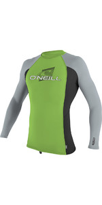 2018 O'Neill Youth Premium Skins Long Sleeve Rash Vest Day Glo 4174