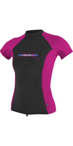 2018 O'Neill Youth Girls Premium Skins Short Sleeve Rash Vest Berry 4175
