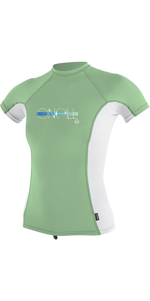 2018 O'Neill Youth Girls Premium Skins Short Sleeve Rash Vest Mint 4175