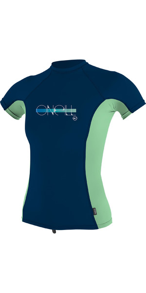 2019 O'Neill Girls Premium Skins Short Sleeve Rash Vest Midnite Oil 4175