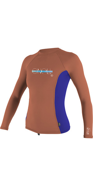 2018 O'Neill Youth Girls Premium Skins Long Sleeve Rash Vest Coral / Cobalt 4176