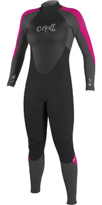 2018 O'Neill Ladies Epic 4/3mm Back Zip GBS Wetsuit BLACK / Berry 4214