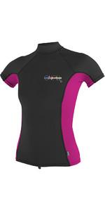 O'Neill Womens Premium Skins Short Sleeve Turtle Neck Rash Tee Black / Berry 4519