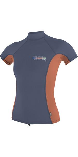 2018 O'Neill Womens Premium Skins Short Sleeve Turtle Neck Rash Tee Mist / Coral 4519