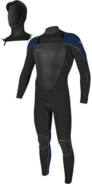 2018 O'Neill Mutant 5/4mm Hooded Chest Zip Wetsuit Black / Abyss 4762