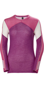 2019 Helly Hansen Womens HH Lifa Merino Crew Crew Base Layer Top Festival Fuchsia 48341