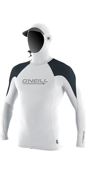 2018 O'Neill Premium Skins O'Zone Long Sleeve Hooded Rash Vest White 4951