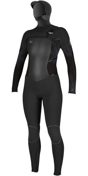 2018 O'Neill Ladies Psycho Tech 6/4mm Hooded Chest Zip Wetsuit BLACK / Mist 4990