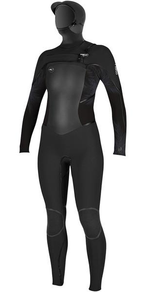 2018 O'Neill Womens Psycho Tech 6/4mm Hooded Chest Zip Wetsuit BLACK / Mist 4990