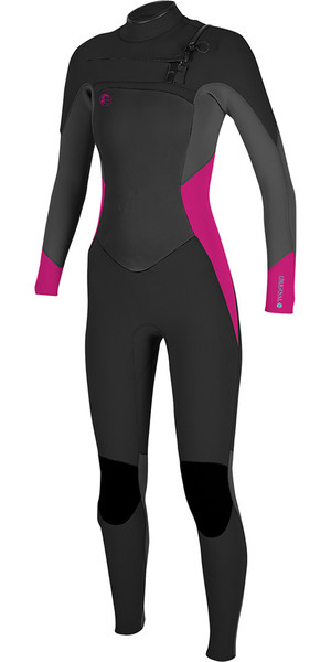 2018 O'Neill Womens O'riginal 4/3mm Chest Zip Wetsuit BLACK / Berry 5015