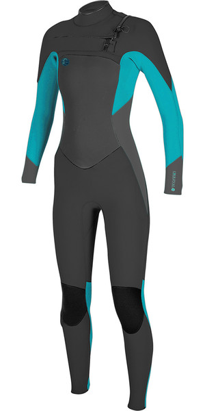 2018 O'Neill Womens O'riginal 4/3mm Chest Zip Wetsuit BLACK / Breeze 5015