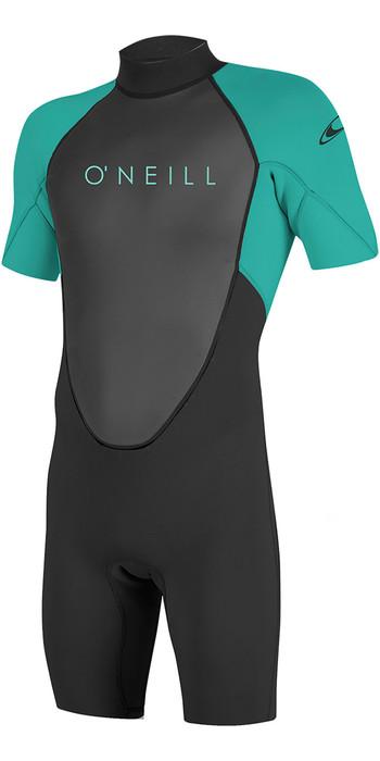 2021 O'Neill Youth Reactor II 2mm Back Zip Shorty Wetsuit Black / Aqua 5045