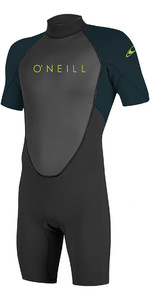 2020 O'Neill Youth Reactor II 2mm Back Zip Shorty Wetsuit Black / Slate 5045