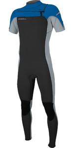 2019 O'Neill Mens Hammer 2mm Chest Zip Short Sleeve Wetsuit Black / Cool Grey / Ocean 5056