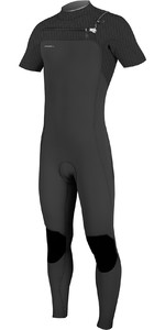 2021 O'Neill Mens Hyperfreak 2mm Chest Zip GBS Short Sleeve Wetsuit Black 5066