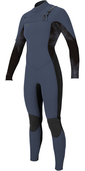 2018 O'Neill Womens Hyperfreak 4/3mm Chest Zip GBS Wetsuit Mist / Black 5075