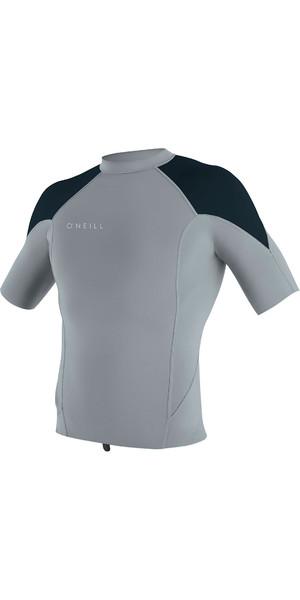 2019 O'Neill Mens Reactor II 1mm Neoprene Short Sleeve Top Cool Grey / Slate / Ocean 5081