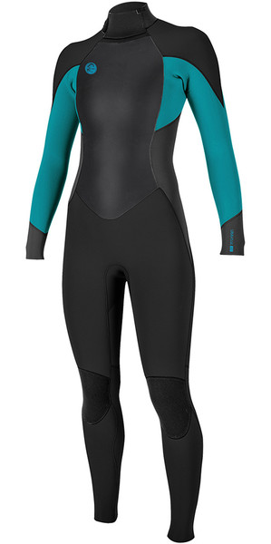 2018 O'Neill Ladies O'Riginal 4/3mm Back Zip Wetsuit BLACK / Breeze 5117