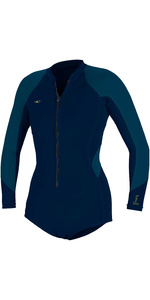 2020 O'Neill Womens Bahia 2/1mm Front Zip Long Sleeve Shorty Wetsuit 5363 - Abyss / French Navy