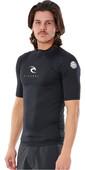 2021 Rip Curl Men Corps Short Sleeve Rash vest WLE3KM - Black