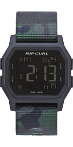 2019 Rip Curl Mens Atom Webbing Strap Digital Watch Camo A3087