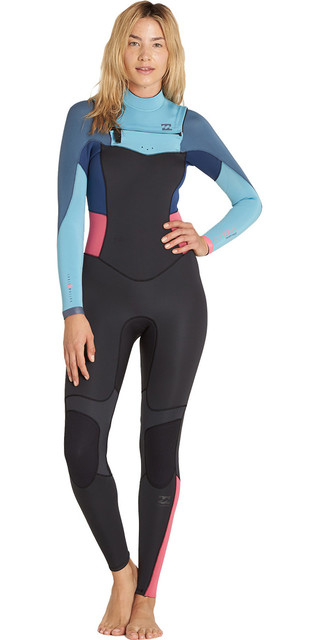 2018 Billabong Womens 4/3mm Synergy Chest Zip Wetsuit Agave F44g11 Picture