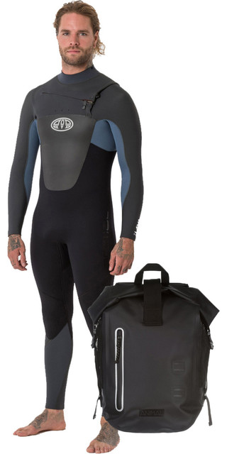 2018 Animal Mens Lava 5/4/3mm Chest Zip Gbs Wetsuit Pewter Blue Aw8wn107 & Animal Darwin Explorer Backpack Black Lu7wl015 Picture