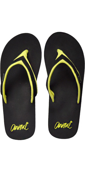 2018 Animal Womens Swish Slim Block Flip Flops Black / Lime FM8SN305